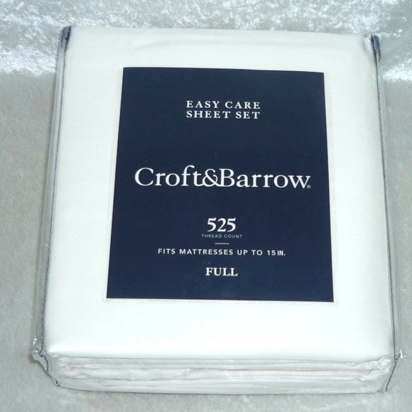 Croft /& Barrow Easy Care 525-Thread Count Sheet Set Ivory Queen